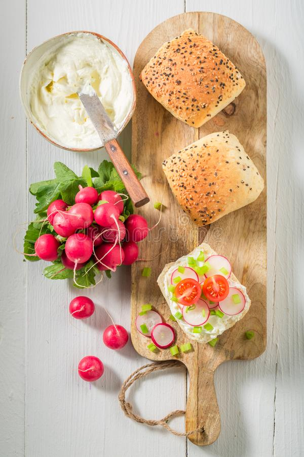 Fresh sandwich with crunchy bread, fromage cheese and radish. On white background royalty free stock photos
