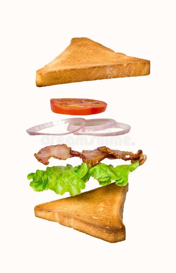Fresh sandwich with flying ingredients isolated on white background royalty free stock images