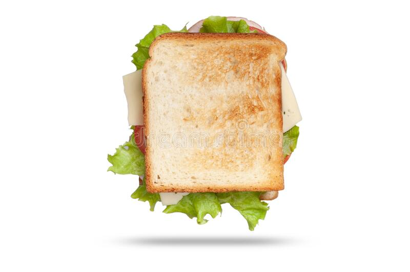 Fresh sandwich with ham, cheese and green salad. isolated on white background stock photo