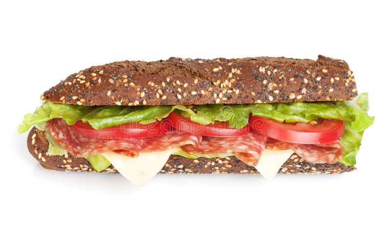 Fresh sandwich with meat and vegetables royalty free stock photo