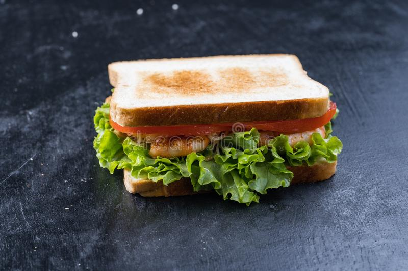 Fresh sandwich with shrimp and egg in Swedish style.  royalty free stock photos