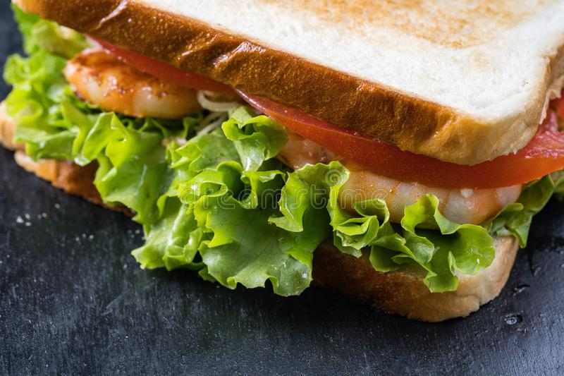Fresh sandwich with shrimp and egg in Swedish style.  stock images
