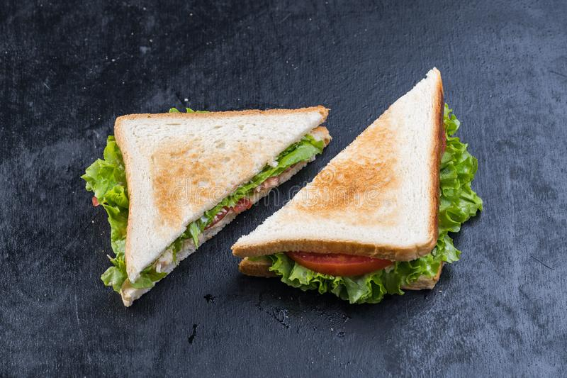 Fresh sandwich with shrimp and egg in Swedish style.  royalty free stock image