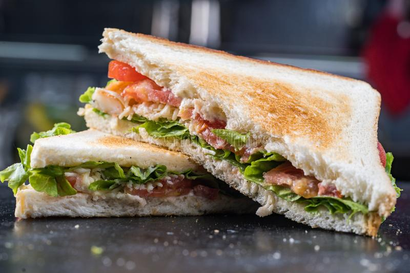 Fresh sandwich with shrimp and egg in Swedish style.  royalty free stock images