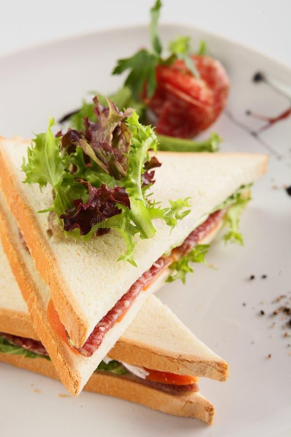 Fresh sandwich on white background stock photos
