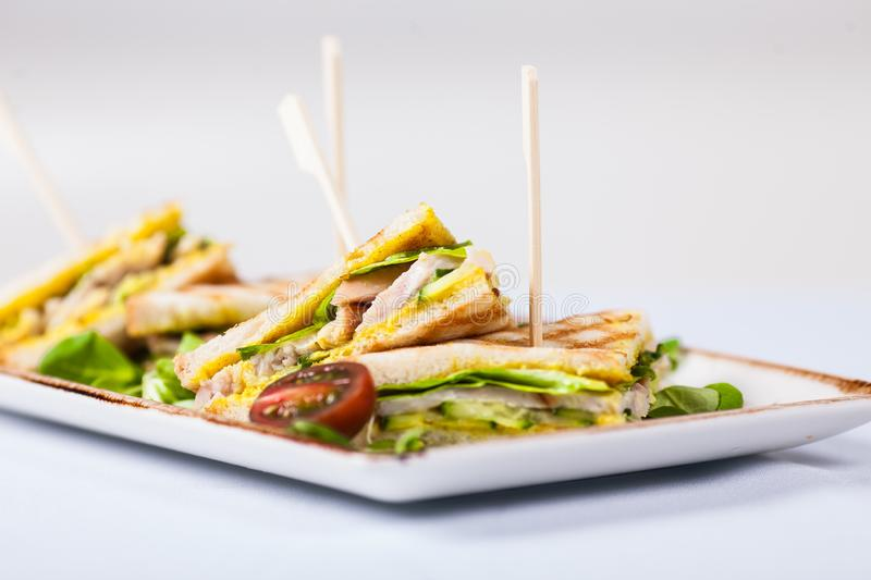Fresh sandwiches served on white plate royalty free stock photo