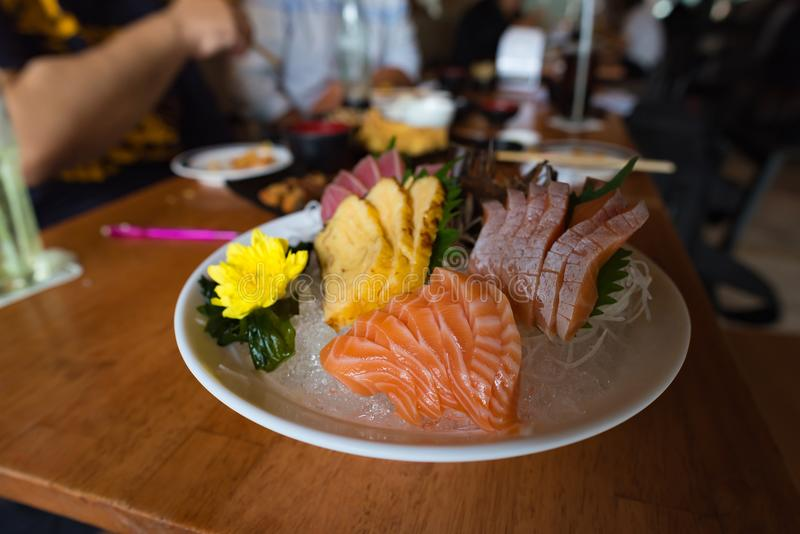 Fresh sashimi in japan restuarnt royalty free stock photography