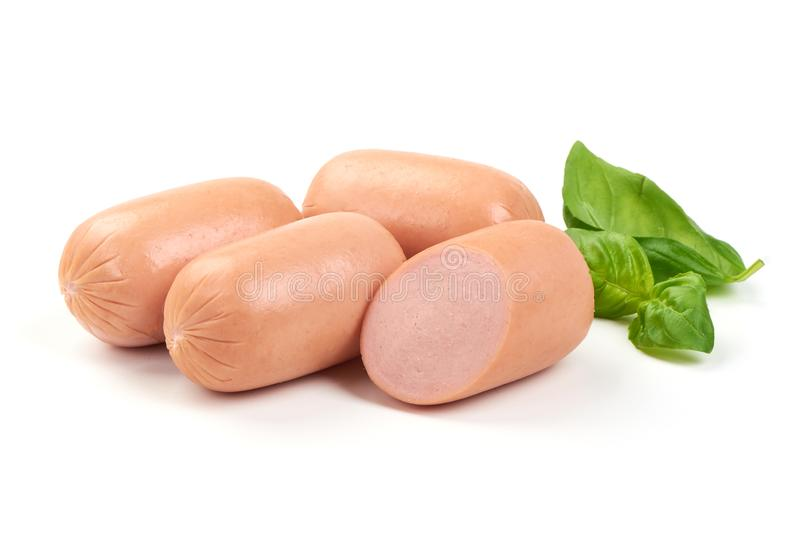 Fresh sausages with basil, isolated on white background royalty free stock photos