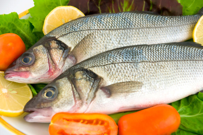 Fresh sea bass. With vegetables, ready to cook stock photos