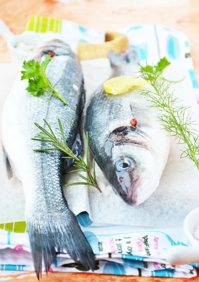 Fresh Sea Bass With Herbs Stock Image