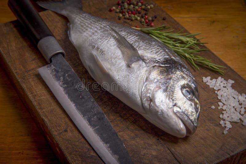 Fresh sea bream fish on a wooden cutting board. Delicious fresh sea bream fish on a wooden cutting board royalty free stock photos
