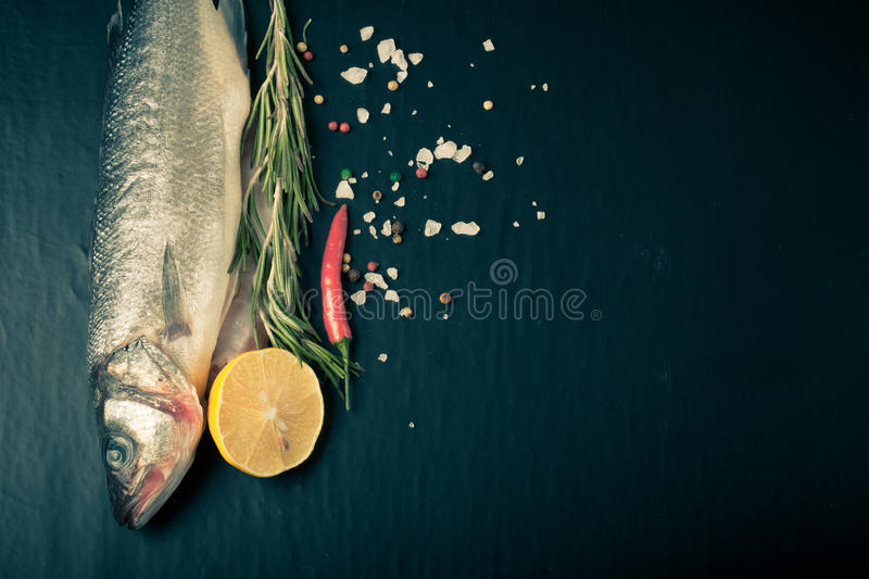 Fresh sea fish lying on dark background with spices. Space for text. Tinted royalty free stock images