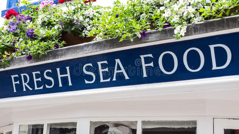 Fresh Sea Food. A sign indicating Fresh Sea Food stock photography