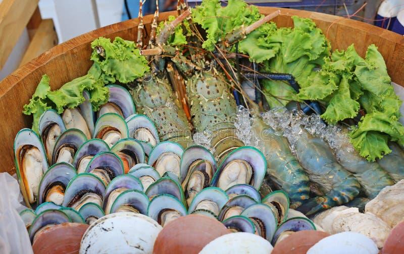 Fresh seafood arrangement stock photography