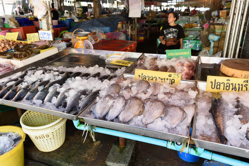 Fresh seafood at Ban Phe local market royalty free stock image