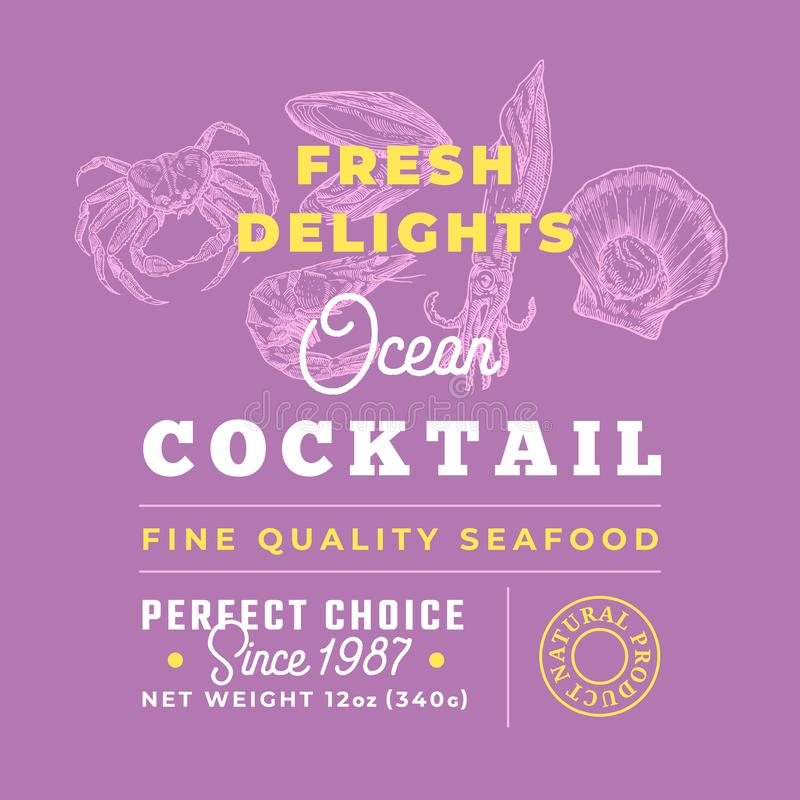 Fresh Seafood Cocktail Delights Premium Quality Label. Abstract Vector Packaging Design Layout. Retro Typography with. Borders and Hand Drawn Crab, Squid stock illustration
