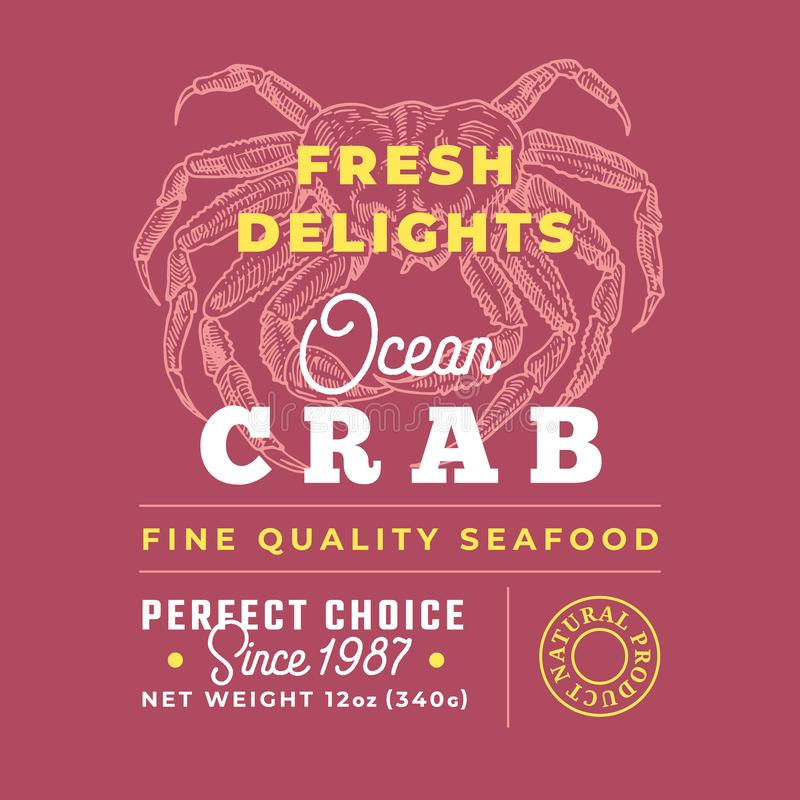 Fresh Seafood Delights Premium Quality Label. Abstract Vector Packaging Design Layout. Retro Typography with Borders and. Hand Drawn Crab Silhouettes Background stock illustration