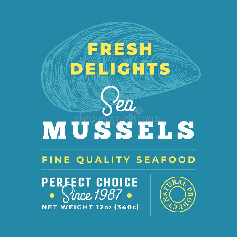 Fresh Seafood Delights Premium Quality Label. Abstract Vector Packaging Design Layout. Retro Typography with Borders and. Hand Drawn Mussel Silhouettes stock illustration