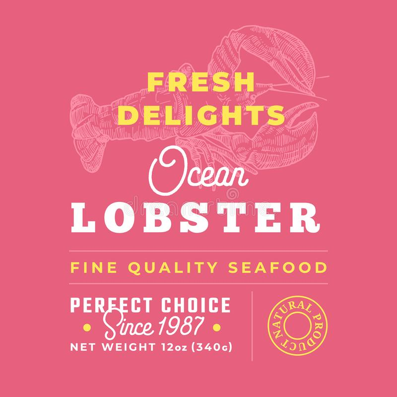 Fresh Seafood Delights Premium Quality Label. Abstract Vector Packaging Design Layout. Retro Typography with Borders and. Hand Drawn Lobster Silhouettes vector illustration