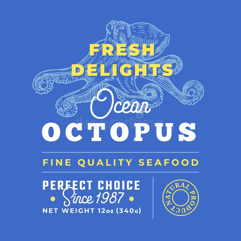 Fresh Seafood Delights Premium Quality Label. Abstract Vector Packaging Design Layout. Retro Typography with Borders and. Hand Drawn Octopus Silhouettes stock illustration