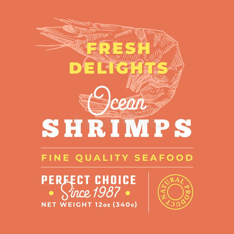 Fresh Seafood Delights Premium Quality Label. Abstract Vector Packaging Design Layout. Retro Typography with Borders and. Hand Drawn Shrimp or Prawn Silhouettes vector illustration