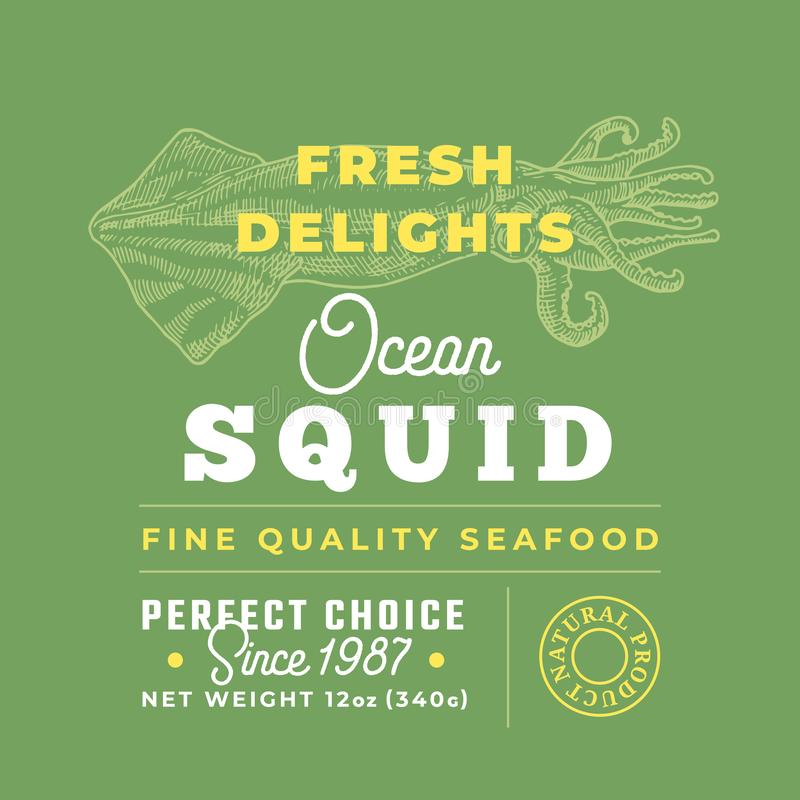 Fresh Seafood Delights Premium Quality Label. Abstract Vector Packaging Design Layout. Retro Typography with Borders and. Hand Drawn Squid Silhouettes stock illustration