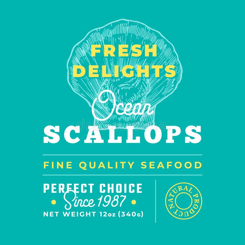 Fresh Seafood Delights Premium Quality Label. Abstract Vector Packaging Design Layout. Retro Typography with Borders and. Hand Drawn Scallop Silhouettes vector illustration