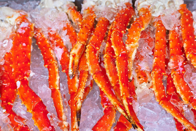 Fresh seafood in fish market. Food background stock photography