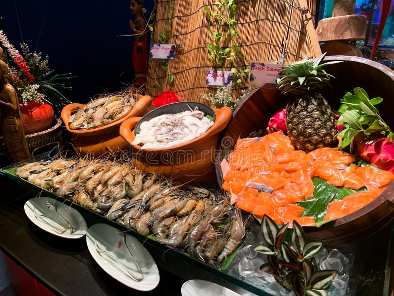 The fresh seafood line buffet background royalty free stock images