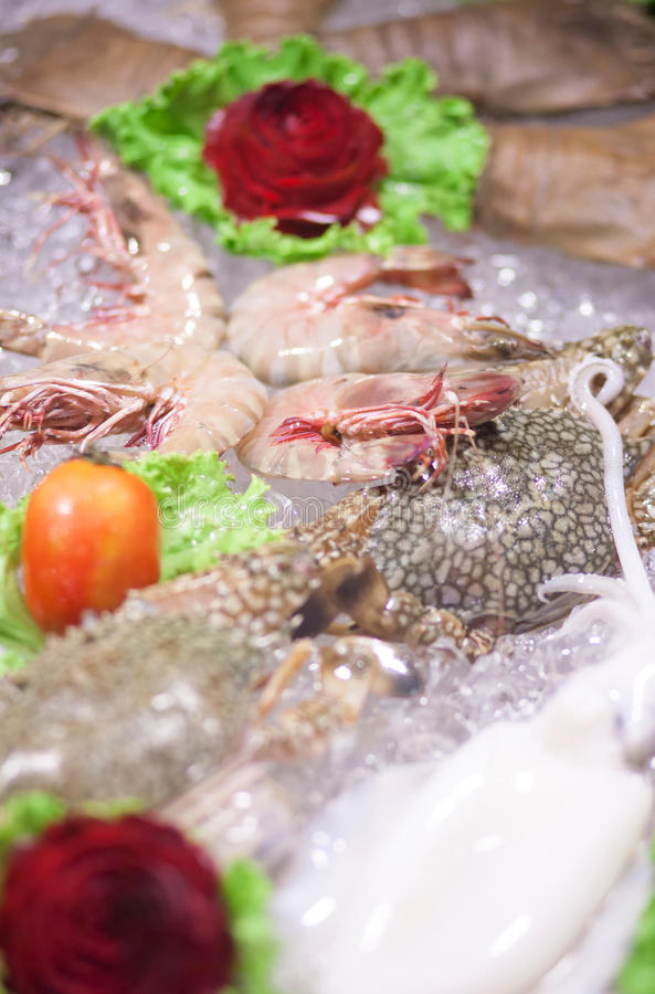 Fresh seafood. In the market stock image