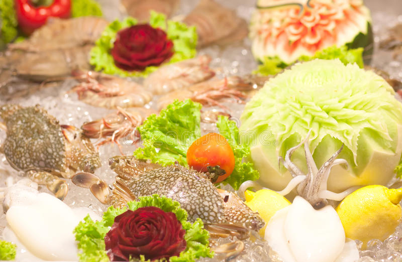 Fresh seafood. In the market stock photos