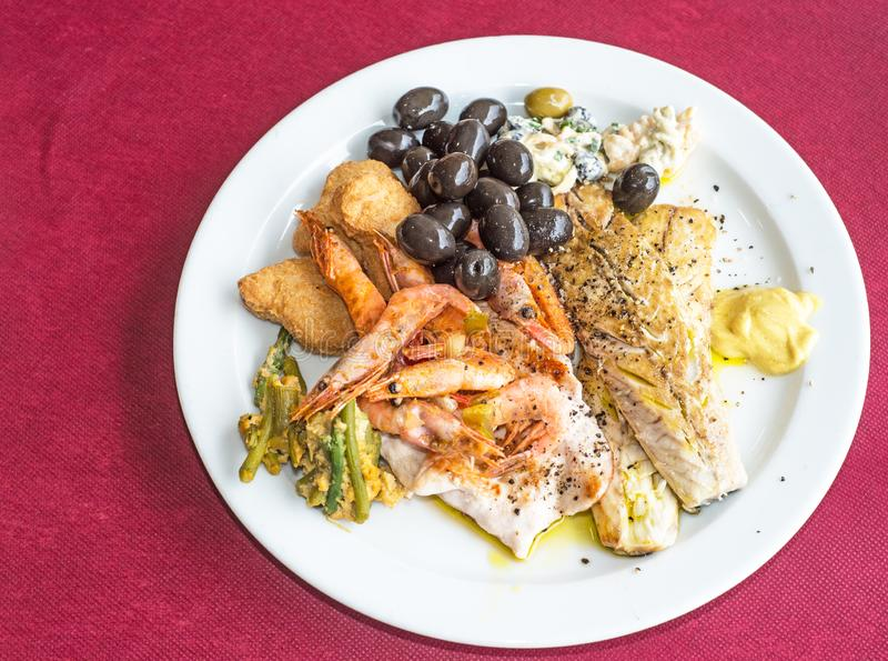 Fresh seafood platter in Spain stock image