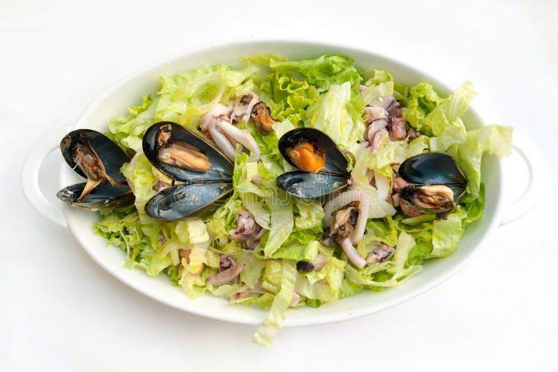 Fresh seafood salad royalty free stock photo