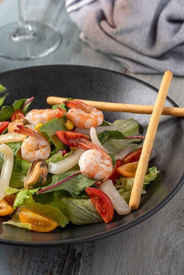 Fresh Seafood salad stock photos