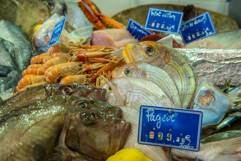 Market stall with fresh seafood royalty free stock image