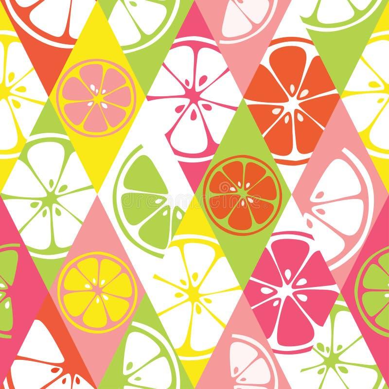 Fresh seamless pattern with color citrus juicy fruit of orange, grapefruit, lemon, lime stock illustration