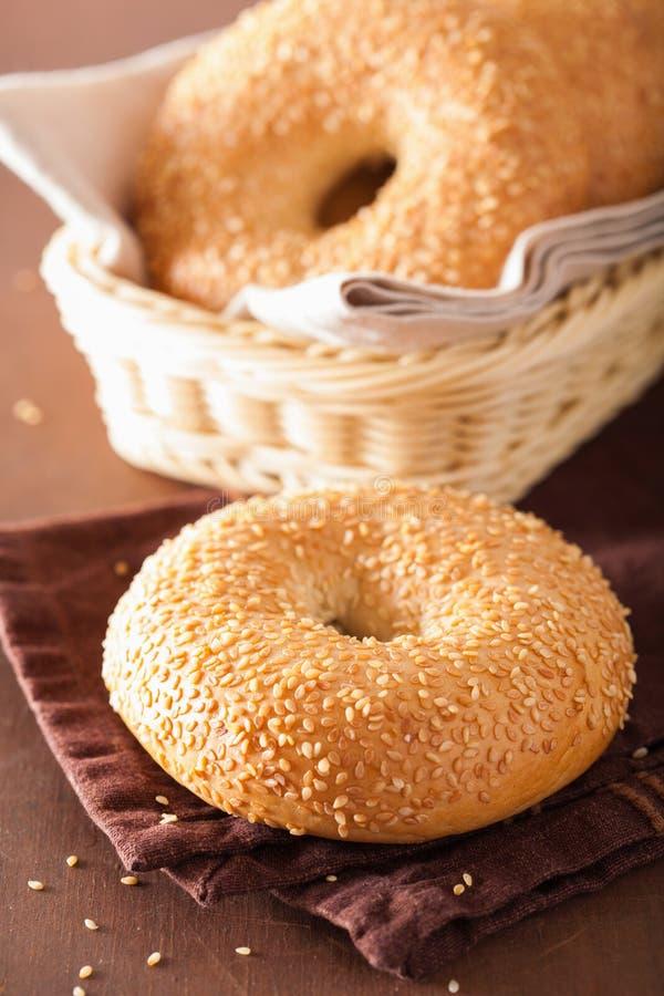 Free Fresh Sesame Bagel For Breakfast Stock Photos - 75525643