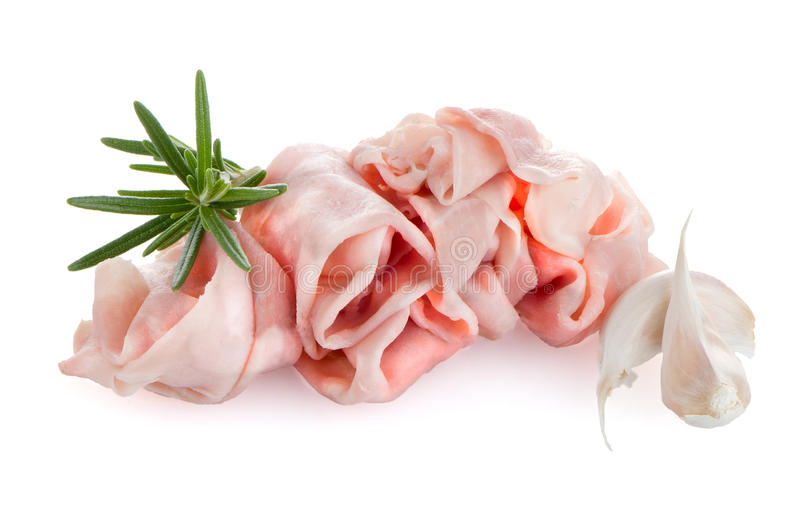 Fresh shaved ham. On a white background stock photo