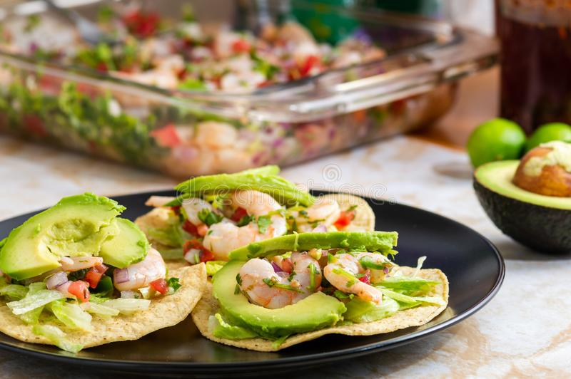 Fresh shrimp ceviche, marinated in lime with fresh vegetables royalty free stock images