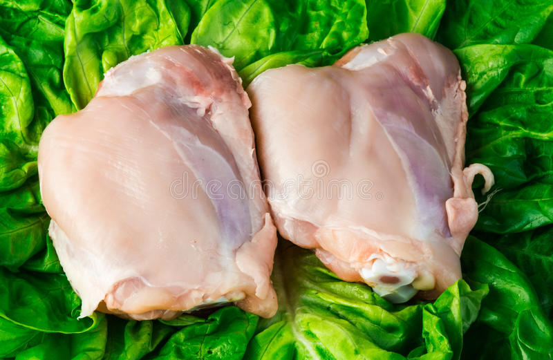 Fresh skinless chicken thighs on salad. Background royalty free stock photo