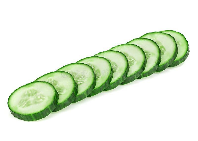 Fresh slice cucumber close-up on a white background. Fresh slice cucumber close-up on white background stock image