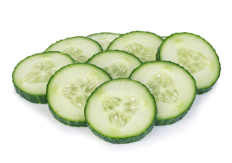 Fresh slice cucumber close-up on a white background. Fresh slice cucumber close-up on a white background royalty free stock photos