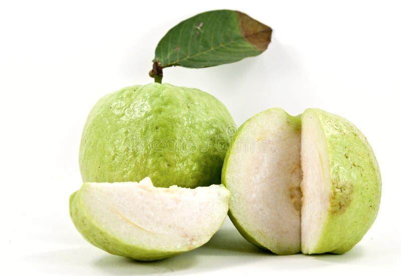 Fresh slice guava. Shot on white background stock photos