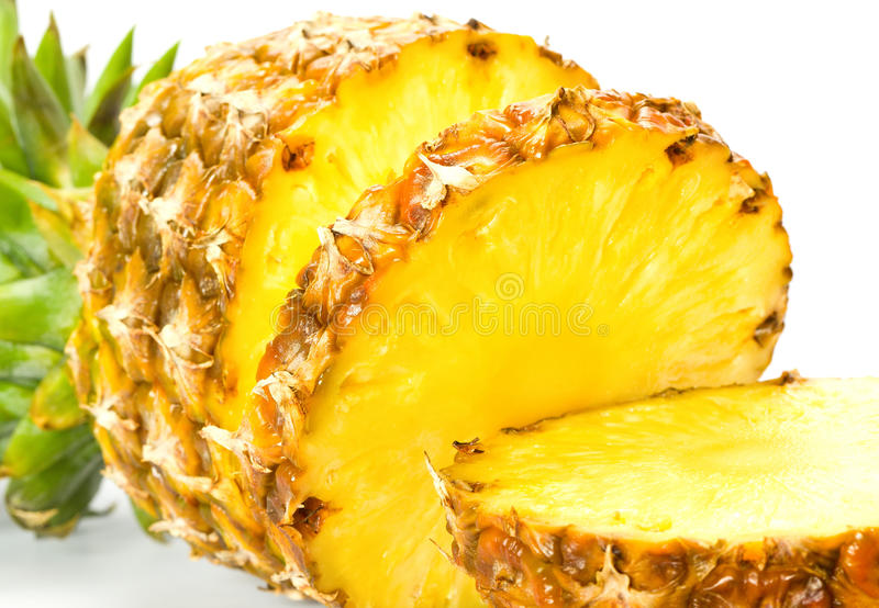 Fresh slice pineapple. On the white background stock photography