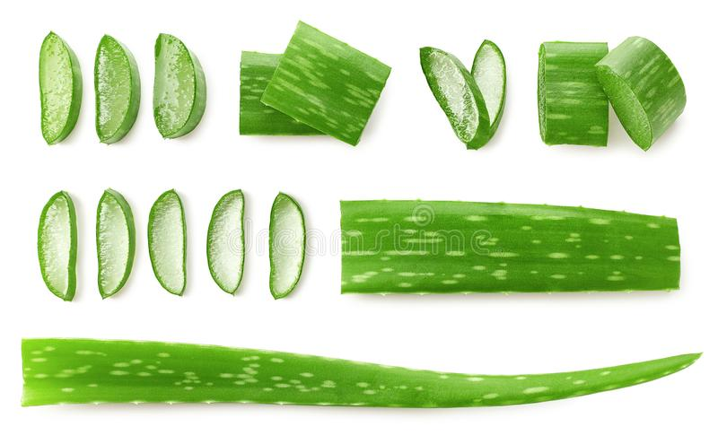 Fresh sliced Aloe Vera leaf. Isolated on white background, top view royalty free stock images
