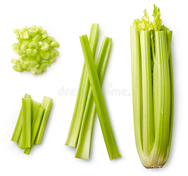 Fresh celery isolated on white royalty free stock images