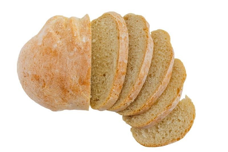 Fresh sliced ciabatta bread on a white background.  stock photography