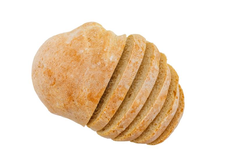 Fresh sliced ciabatta bread on a white background.  royalty free stock image