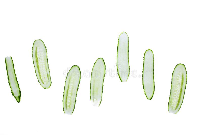 Fresh sliced cucumber isolated on a white background royalty free stock photos