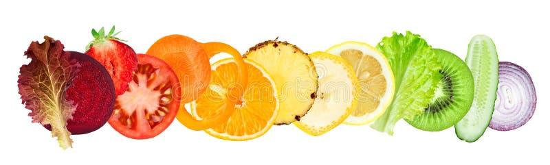 Fresh sliced of fruits and vegetables royalty free illustration